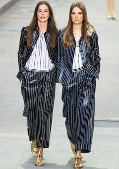 Chanel Spring 2015 - pin stripe wide leg crop pants and suit jackets