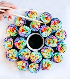 Colorful Rainbow Sushi by Elsa's Wholesome Life. Made with natural coloring.