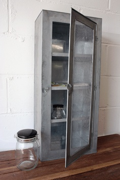 Galvanised Metal Cabinet with A Mesh Front