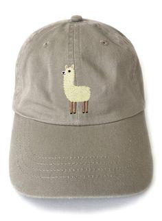 Baseball cap llama embroidered baseball cap by squarepaisleydesign