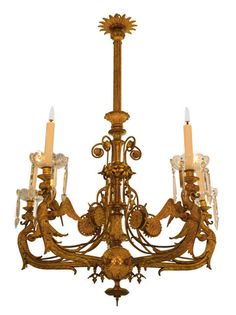 Lustre aux dragons héraldiques à cinq bras de lumières Bronze doré et cristal Travail anglais, vers 1890 - Galerie Lumières GL00072