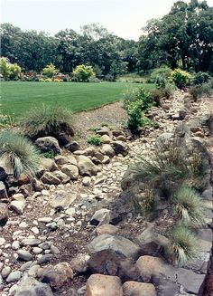 Dry river bed next to lawn. Like this for our wet yard.