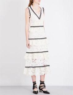 Description Self Portrait lace tiered midi dress in white. This gorgeous dress features white, tiered lace with black, ribbon trim. Size & Fit Runs true to Mini Slip, White Midi Dress, Black Trim, I Love Fashion, My Wardrobe, A Line Skirts, Style Inspiration, Portrait, Black Ribbon