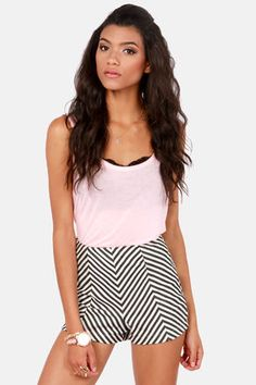 Costa Blanca I-Zig Newton Black Chevron Print Shorts