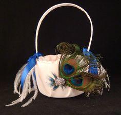 Peacock Flower Girl Basket with Blue Satin Ribbon / peacock wedding basket bridal peacock. $30.00, via Etsy.
