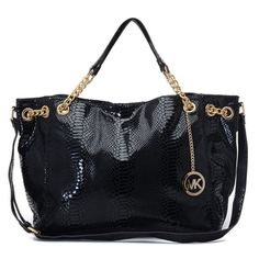 MICHAEL Michael Kors Jet Set Chain Python-embossed Shoulder Tote Black