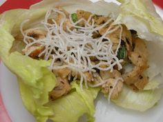 Chicken Lettuce Wraps (PF Changs?)  3 boneless skinless chicken breasts (can substitute leftover ckn or turkey - about three cups)   3 green onions   Small can water chestnuts   1 Cup mushrooms   2 T brown sugar   3 T Soy Sauce   Rice Sticks and oil to cook them in   Head of lettuce to serve them in
