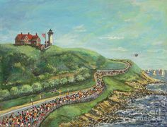 abstract painting of runners in a race - Google Search