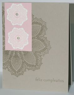 Simple birthday card, hello doily and delicate doilies from stampin up, details and pics