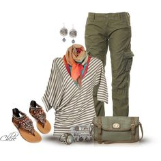 Olive with a touch of Coral by chloe-813 on Polyvore