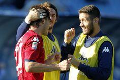Alibin Ekdal of Cagliari Calcio celebrates after scoring a goal during the Serie A match between Empoli FC and Cagliari Calcio  at Stadio Carlo Castellani on October 25, 2014 in Empoli, Italy.