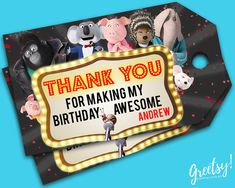 Sing Thank You Tags, Sing Birthday Favor Tags, Sing Party Tags, Sing Tags, Sing Movie Printable Supplies, Sing Labels Tag, Sing Movie Tags MATCHING BIRTHDAY INVITATION ALSO AVAILABLE https://www.etsy.com/listing/497272315/sing-invitation-sing-birthday-sing-party MATCHING WATER BOTTLE LABEL ALSO AVAILABLE: https://www.etsy.com/listing/489101968/sing-water-bottle-labels-sing-birthday This product listing is for a personalized thank you tags i...