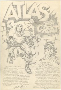 """Original concept art for Jack """"King"""" Kirby's Atlas, published in 1st Issue Special #1 from DC Comics."""