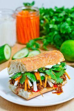 Vietnamese BBQ Pulled Pork (slow cooker) Banh Mi - carrots, radish, cucumber, cilantro, jalapenos