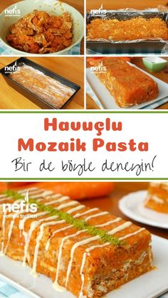 Havuçlu Mozaik Pasta (videolu) – Nefis Yemek Tarifleri How to make carrot mosaic cake (with video) recipe? Illustrated explanation of this recipe in the book of people and photos of those who try are here. Pasta Recipes, Dessert Recipes, Desserts, Yummy Recipes, Party Fotos, Kaya, Pumpkin Dessert, Bite Size, Food Videos