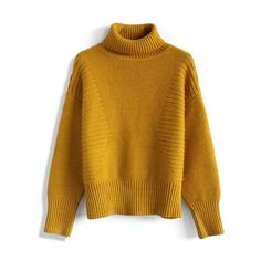 Chicwish Retro Turtleneck Sweater in Mustard ($59) ❤ liked on Polyvore featuring tops, sweaters, yellow, brown turtleneck, brown sweater, thick sweater, mustard yellow sweater and brown ribbed turtleneck