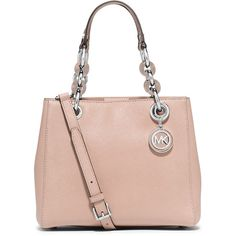 MICHAEL Michael Kors Cynthia Small Saffiano Satchel Bag ($315) ❤ liked on Polyvore featuring bags, handbags, ballet, pink purse, michael michael kors, zipper handbag, zip zip satchel and zipper purse