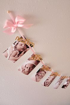 Pink and Gold Birthday Decorations - Monthly Photo Banner Baby Girl 1st Birthday, First Birthday Parties, First Birthday Decorations Girl, Birthday Garland, 1st Birthday Girl Party Ideas, Pink And Gold Birthday Party, Birthday Banner Ideas, Birthday Picture Banner, Princess First Birthday