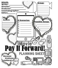 """Pay It Forward – iMovie Drama Unit incorporates music, technology, character studies and dramatic arts.  Its model is a video from YouTube which encourages kindness.  https://www.teacherspayteachers.com/Store/The-Artsy-French-Teacher/Page:2  In groups of 4-5, the students will be led in a step-by-step manner to create an iMovie which promotes the """"Pay it forward"""" theme of kindness in a school setting."""