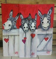red donkeys on knottypine Wilma Potgieter FB Pallet Painting, Pallet Art, Acrylic Painting Lessons, Painting For Kids, Donkey Drawing, Cute Cartoon Pictures, Pet Rocks, Whimsical Art, Pictures To Paint