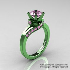 Classic Military 14K Green Gold 1.0 Ct Light Pink Sapphire Designer Solitaire Ring R259-14KGGLPS on Etsy, $1,779.00