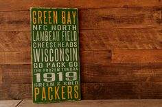 Green Bay Packers Distressed Wood SignGreat by SportsSigns on Etsy, $50.00