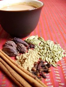 Chai - with cardamom, ginger, star anise, cinnamon, nutmeg, licorice - yummy goodness helps with relaxation
