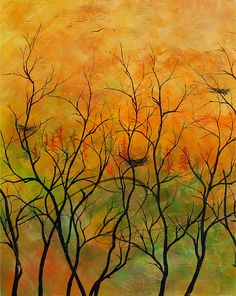 Time to Go - Art Print forest nests autumn sunset silhouette landscape birds kitchen wall decor idea acrylic canvas Canadian Oladesign 8x10