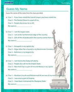 Guess My Name - Free Geography Worksheet for 4th Grade