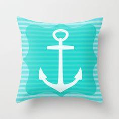 Girls Room Nautical Anchor Blue Throw Pillow