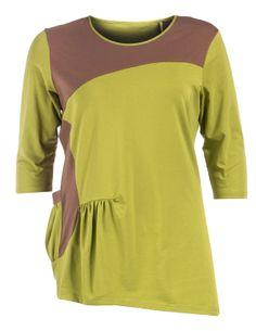 Baumwollshirt mit asymmetrischem Saum von Isolde Roth in Grün / Braun. Die schönsten Shirts bei navabi bestellen