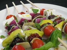 Skewered Greek-Style Salad | Lisa's Kitchen | Vegetarian Recipes | Cooking Hints | Food & Nutrition Articles