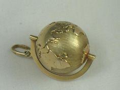 14Kt Gold Large Turning World Charm/Pendant Germany
