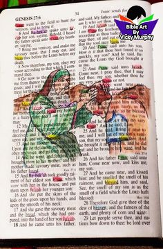 """MONDAY MORNING MUSING May 2, 2016  In my classes that I teach BIBLE ART (copyrighted) we don't just color pictures. We read the word of God and highlight the main characters or subject.  That's why it's called BIBLE ART.  It's a combination of Bible Study and drawing pictures.  Sometimes the subject is a name like Esau & Jacob, sometimes it's a word repeated like """"blessing.""""  I try to match the color of the person with the color of their clothing.  I also have a color chart that I recommend."""