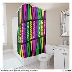 Modern Retro Multi Colored Shower Curtain