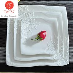 Flower Stamped Ceramics Flat Dinner Plate Set Decorative Porcelain Serving Dish Dinnerware for Beef Steak, Salad and Spaghetti