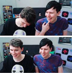 GIF Set: Dan leaning into Phil, Phil leaning into Dan on 14 YEAR OLD PHIL'S GAME - Dan and Phil Play: The Mark Of Oxin!