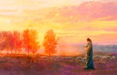 Eventide is a painting that depicts Jesus Christ with His flock during a sunset - Yongsung Kim Paintings Of Christ, Jesus Painting, Images Of Christ, Pictures Of Jesus Christ, Lord Is My Shepherd, The Good Shepherd, Christian Artwork, Christian Artist, Christian Paintings