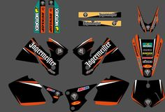 0286  Orange & Black NEW TEAM  GRAPHICS WITH MATCHING BACKGROUNDS FIT FOR KTM SX MXC 125/250/380 /400/520 1998 1999 2000 #Affiliate
