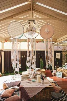 at a boho birthday party! See more party ideas at !Dreamcatchers at a boho birthday party! See more party ideas at ! Hippie Party, Gypsy Party, Deco Boheme Chic, Bohemian Theme, Bohemian Gypsy, 18th Birthday Party, Birthday Ideas, Boho Baby Shower, Bridal Shower