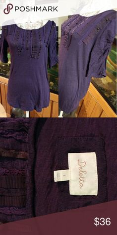 🎉SALE🎉DELETTA ANTHROPOLOGIE GREAT USED CONDITION. PURPLE. SCRUNCHED 3/4 SLEEVES. Anthropologie Tops