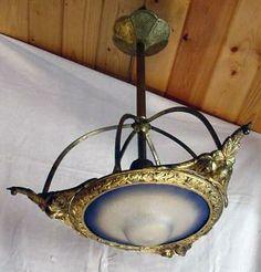 southwest ART deco | Hanging Brass Art Deco Light Fixture w/Art Glass Shade