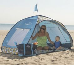 #OneStepAhead #MadeInTheShade This easy-to-tote beach tenet pops up then folds down into its own backpack carry case.