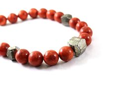 Red Coral necklace red coral and raw pyrite necklace by NatureLook, $125.00