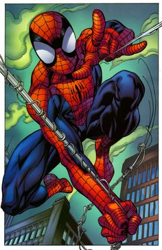 Ultimate Spider-Man by Mark Bagley Amazing Spiderman, Art Spiderman, Spiderman Tattoo, Ultimate Spider Man, Marvel Art, Marvel Heroes, Comics Anime, Mark Bagley, Spectacular Spider Man