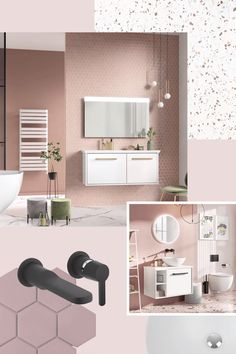 Be inspired to create a chic millennial pink bathroom interior with our I AM. Pink Bathroom Interior, Blush Bathroom, Tranquil Bathroom, Modern Bathroom, Design Bathroom, Bathroom Ideas, Bathroom Light Fixtures, Bathroom Lighting, Blush Walls