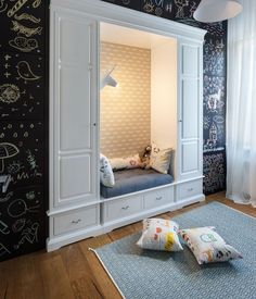 Contemporary Apartment by SVOYA. This apartment is a home of a painter and her young family and is located in Dneper Ukraine. Kid Spaces, Small Spaces, Living Spaces, Interior Exterior, Interior Design, Interior Ideas, Kids Bedroom Designs, Contemporary Apartment, Layout