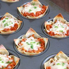 Love the simple mess free and portion control Muffin Tin Mini Lasagnas found on Tracey's Culinary Adventures: #.UXAS5Ks5zYJ#.UXAS5Ks5zYJ