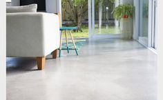A rich grey tone provides a subtle platform the colour palette, with minimal cuts for an uncluttered finish Colour: 678 Texture: Powerfloat Cut: Minimal Construction Cuts Only Sealer: Acrylic Sealer Poured Concrete, White Concrete, Polished Concrete, Concrete Kitchen Floor, Concrete Floors, Kitchen Flooring, Concrete Finishes, Floor Finishes, Floor Colors