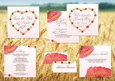Mohnfeld individuelle kreative Hochzeitskarten